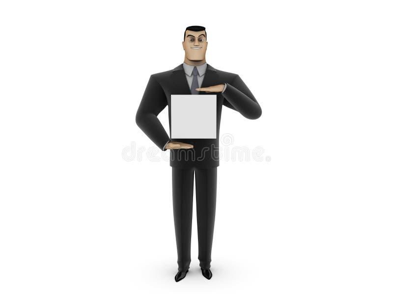 Hombre de negocios y el panel blanco imagen de archivo