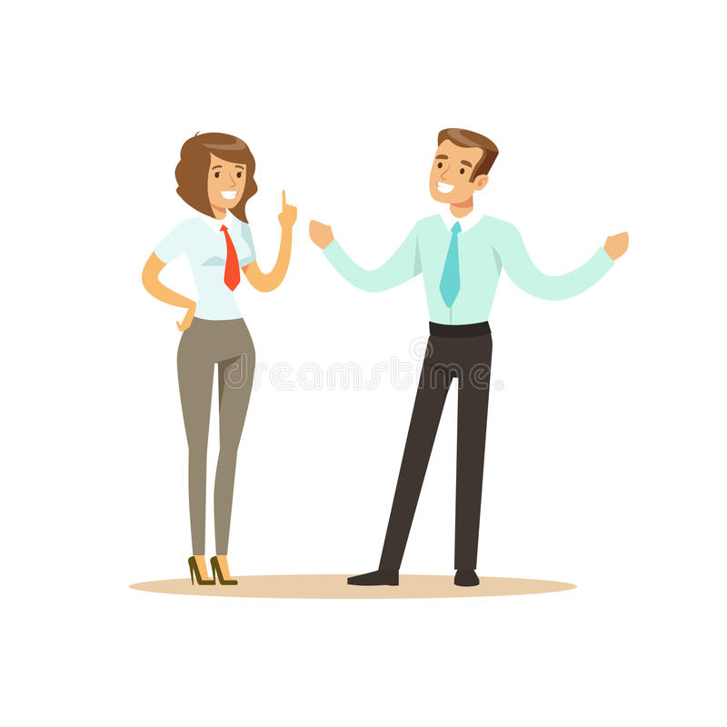 Hombre de negocios y empresaria sonrientes que tienen reunión en el ejemplo del vector de la oficina libre illustration