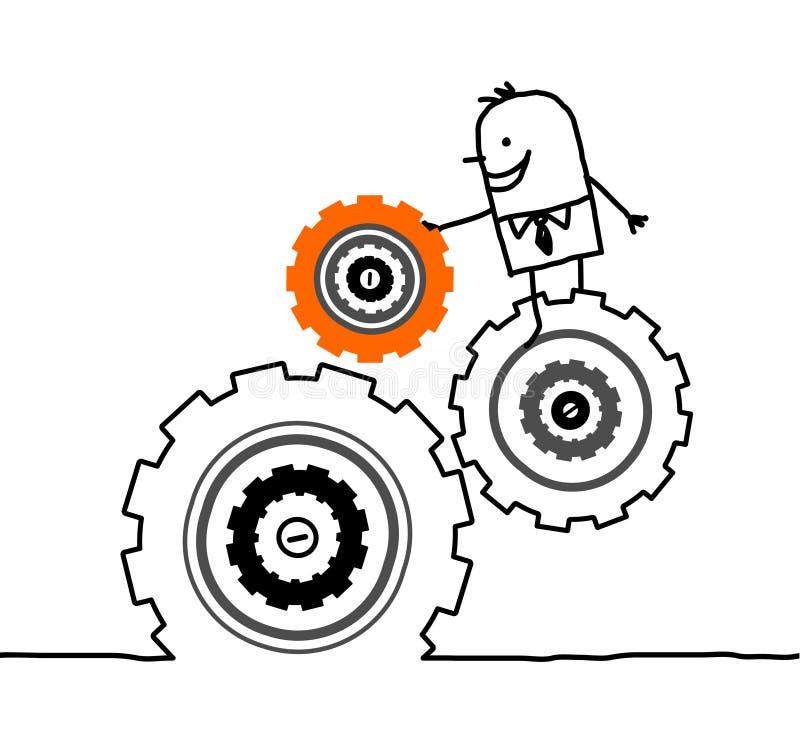Hombre de negocios y engranajes ilustración del vector