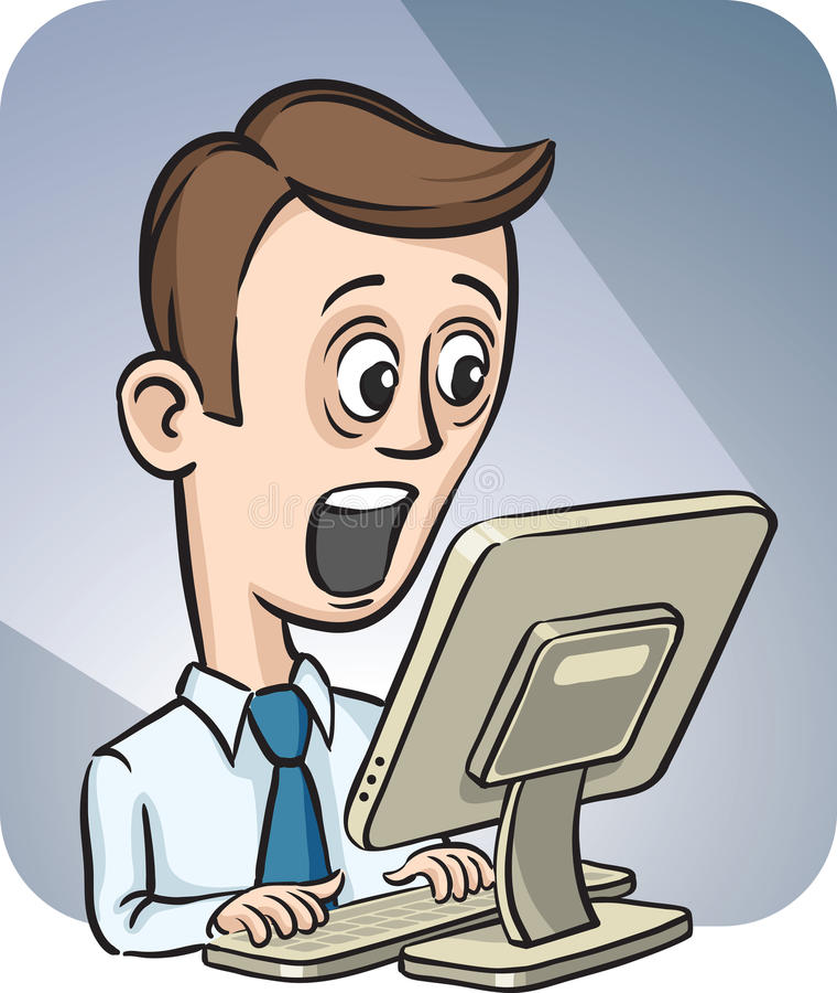 Hombre de negocios y equipo de escritorio sorprendidos ilustración del vector