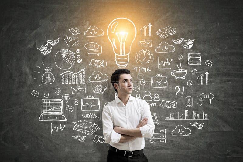 Hombre de negocios y esquema de la idea imagen de archivo