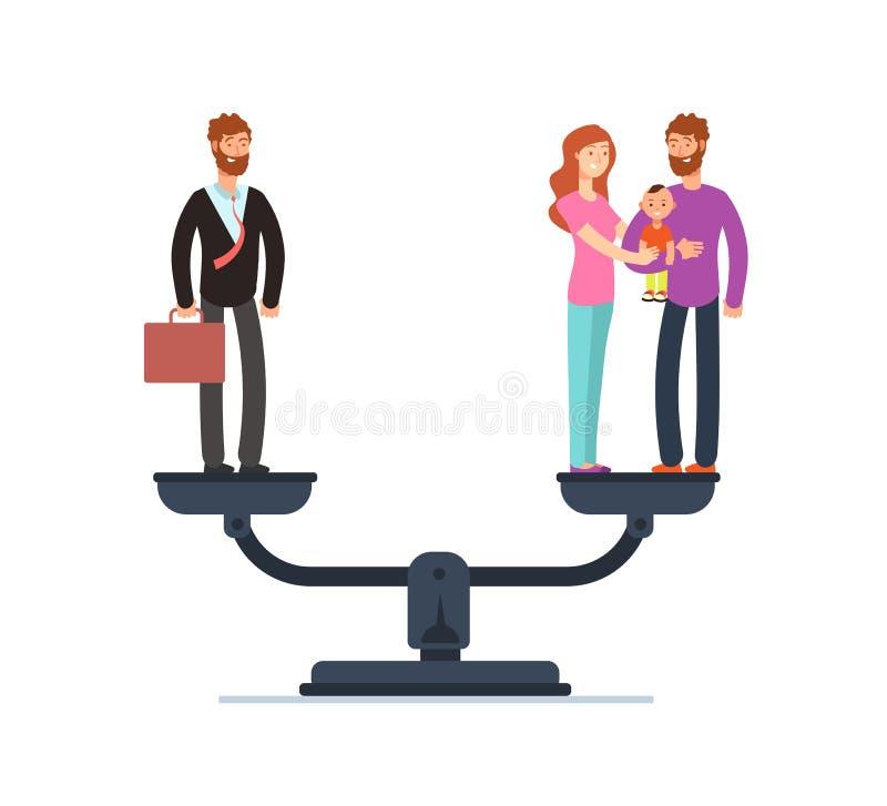Hombre de negocios y familia feliz con los niños en escalas Concepto del trabajo y del vector del negocio de la balanza de la vid libre illustration
