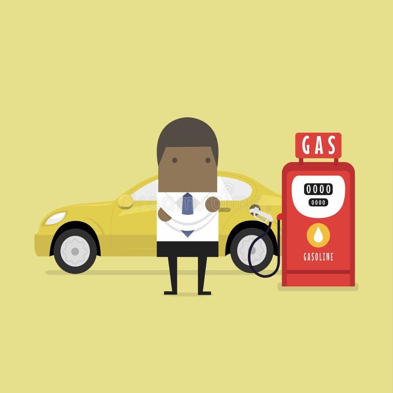 Hombre de negocios y gasolinera africanos ilustración del vector