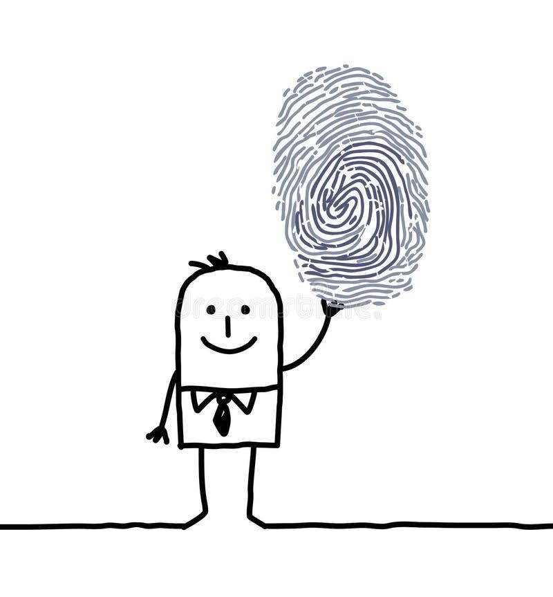 Hombre de negocios y huella digital libre illustration