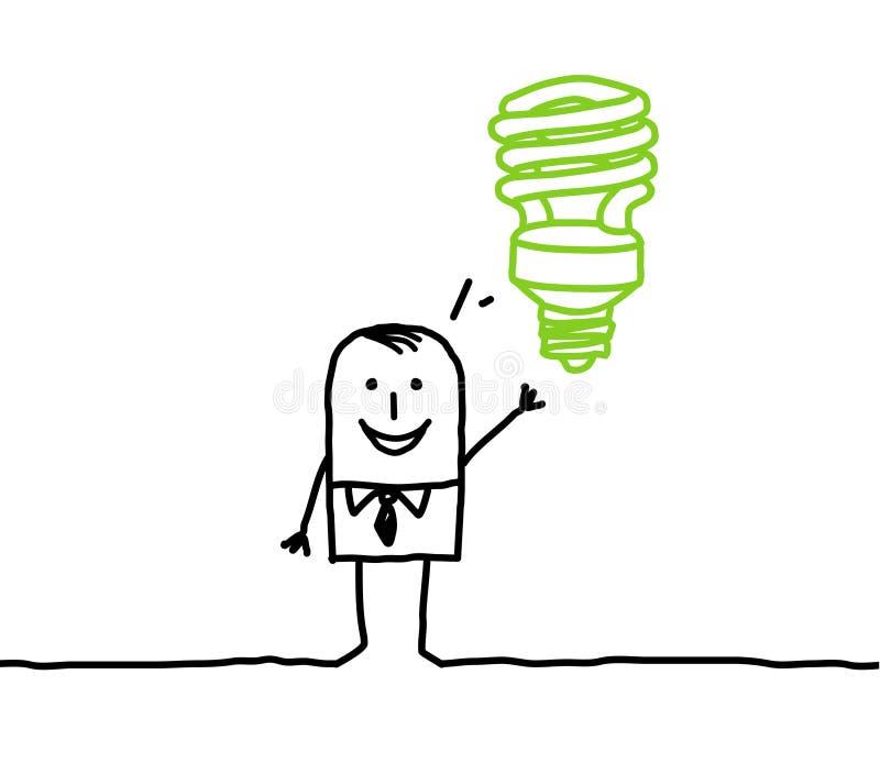 Hombre de negocios y idea verde ilustración del vector