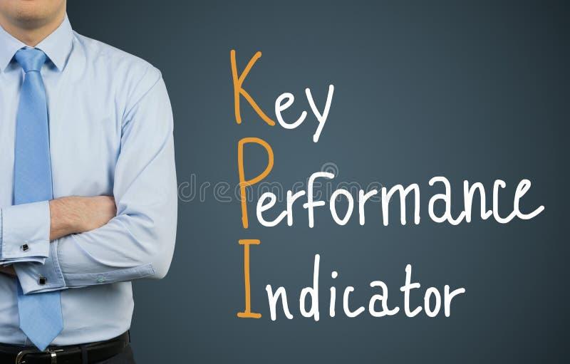 Hombre de negocios y KPI de dibujo foto de archivo