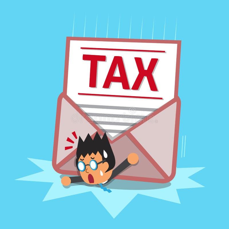 Hombre de negocios y letra grande del impuesto ilustración del vector