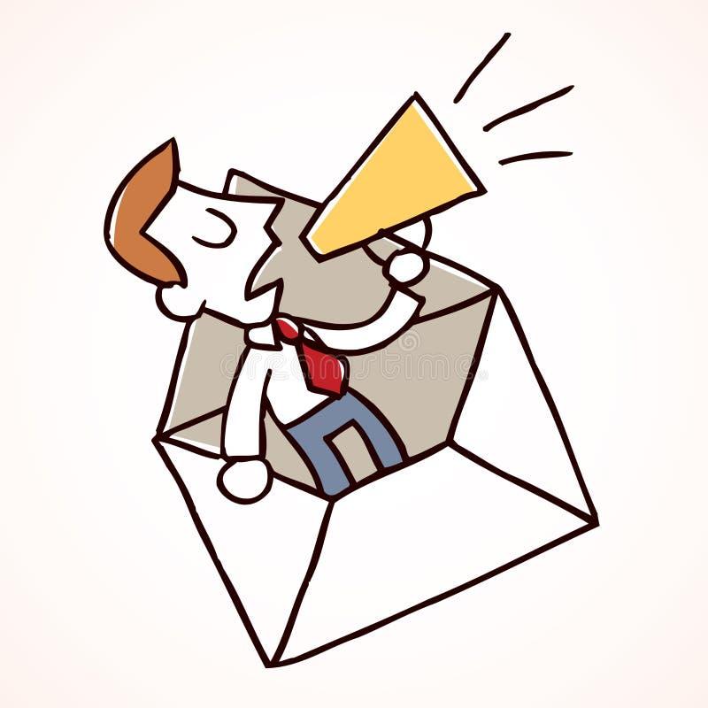 Hombre de negocios y loudhailer stock de ilustración