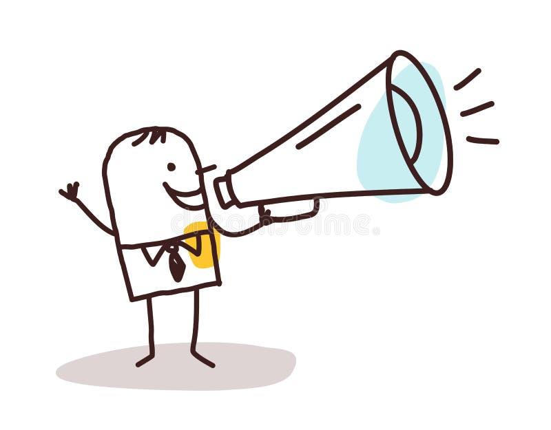 Hombre de negocios y loudhailer libre illustration