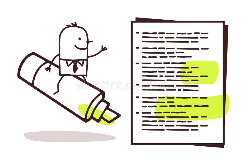 Hombre de negocios y marcador verde libre illustration