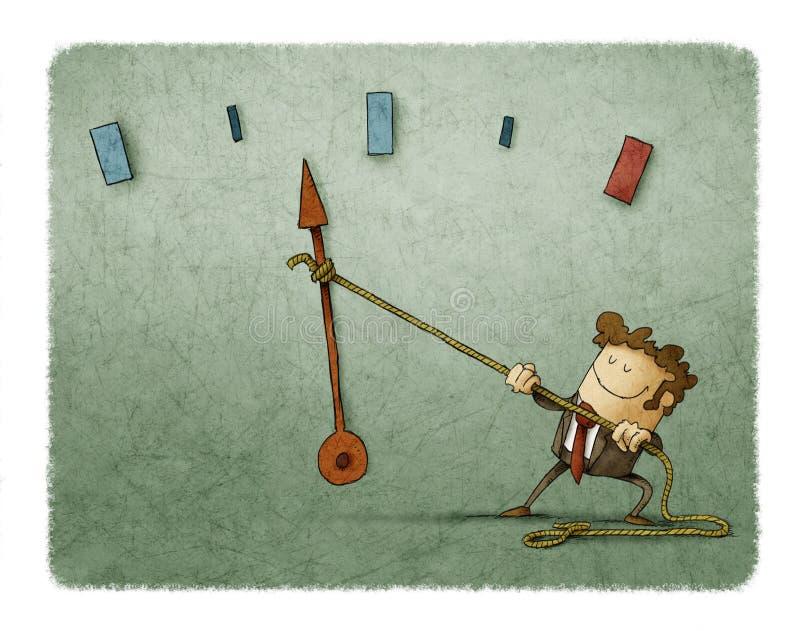 Hombre de negocios y metro de velocidad stock de ilustración