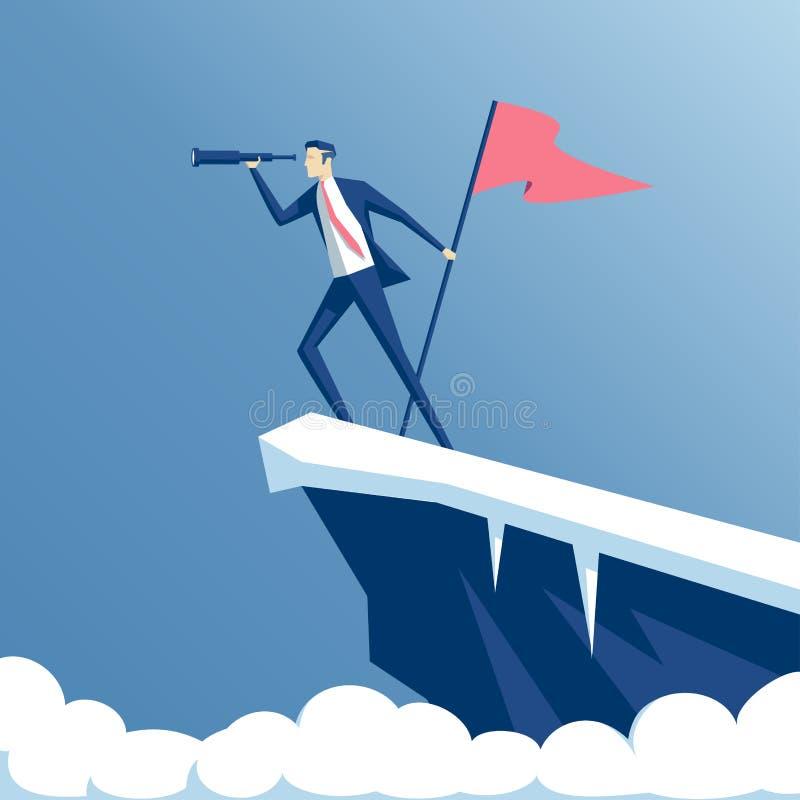 Hombre de negocios y montaña stock de ilustración