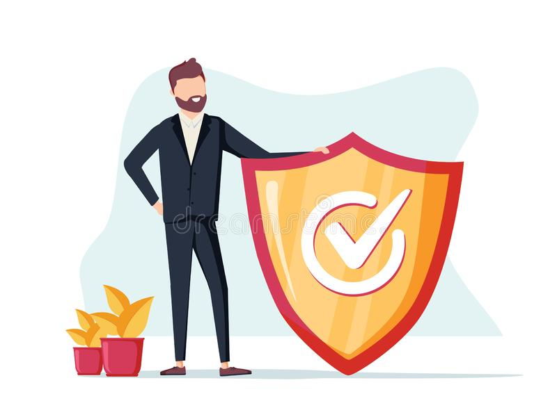 Hombre de negocios y muestra de la información FAQ de la información, aviso y concepto del anuncio bandera para la página web Vec libre illustration