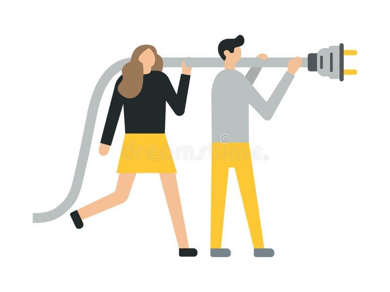 Hombre de negocios y mujer de negocios que se sostiene, el mostrar, dando un enchufe, interruptor-enchufe, alambre Estilo plano stock de ilustración