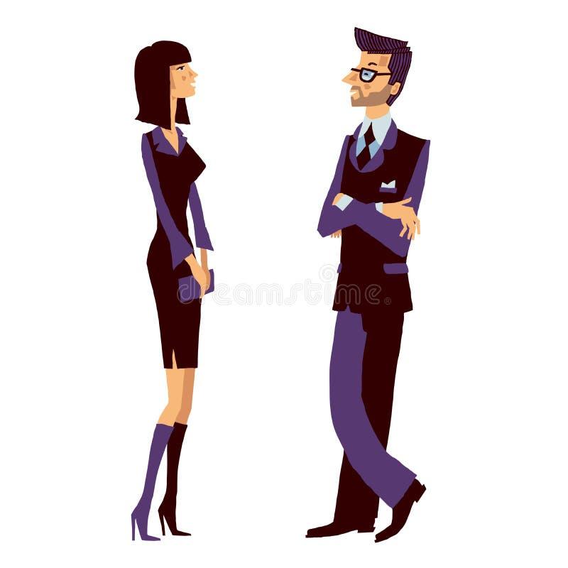 Hombre de negocios y mujer sonriente joven que hablan en el trabajo sobre su compañía acertada stock de ilustración