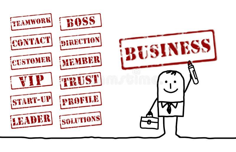 Hombre de negocios y palabras libre illustration