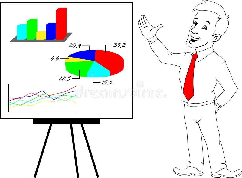 Hombre de negocios y presentación stock de ilustración