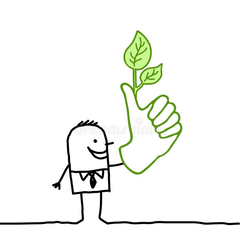 Hombre de negocios y pulgar verde ilustración del vector