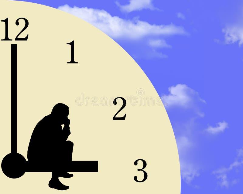 Hombre de negocios y reloj stock de ilustración