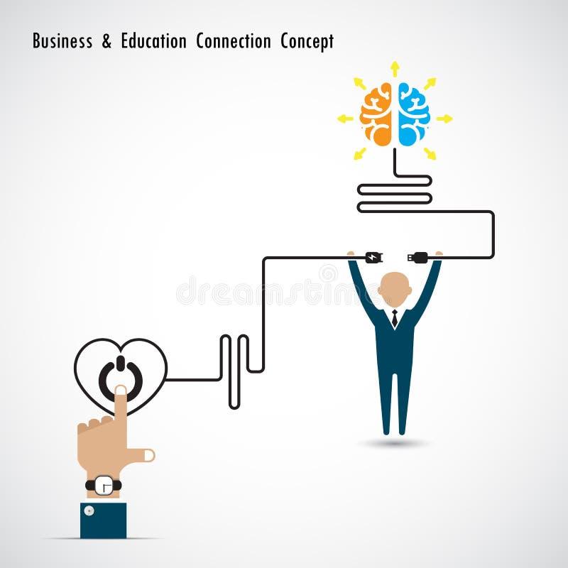 Hombre de negocios y símbolo y conocimiento creativos del cerebro de la bombilla ilustración del vector