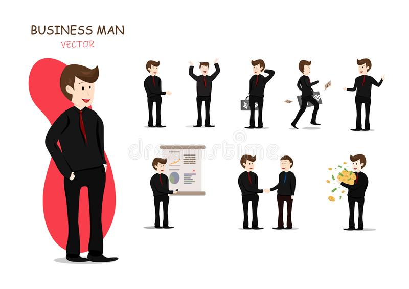 Hombre de negocios y sus trabajos, presentación, caracteres que trabajan, colección del vector de la historieta stock de ilustración