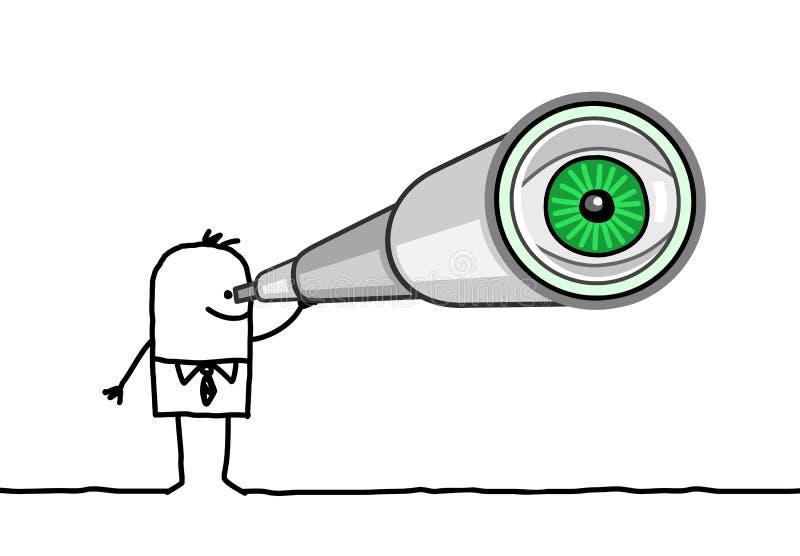 Hombre de negocios y telescopio ilustración del vector