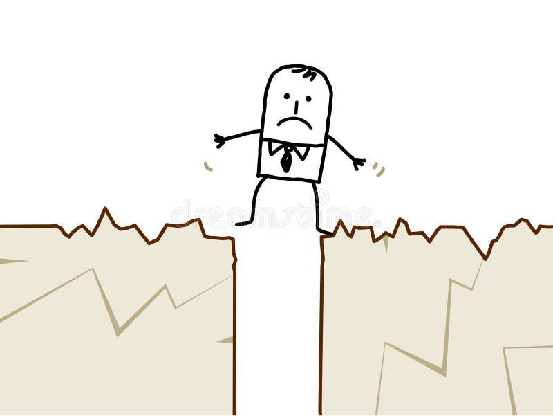 Hombre de negocios y terremoto ilustración del vector