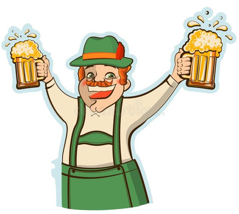 Hombre de Oktoberfest con los vidrios de cerveza. Illust del vector libre illustration