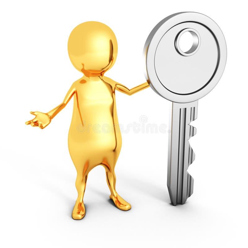 Hombre de oro 3d con llave derecha de la seguridad libre illustration