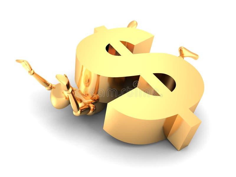 Hombre de oro 3d machacado por una muestra de dólar grande libre illustration