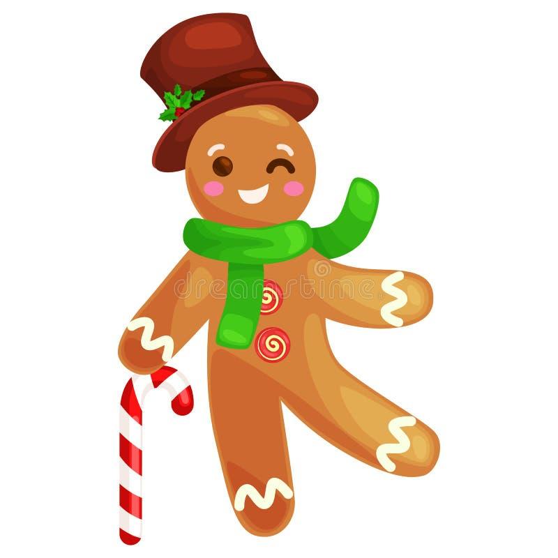 Hombre de pan de jengibre de las galletas de la Navidad adornado con el baile de formación de hielo y tener ejemplo dulce del vec ilustración del vector