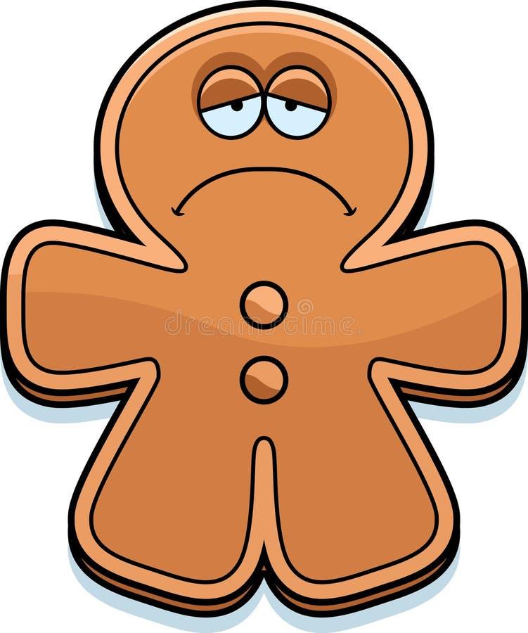 Hombre de pan de jengibre triste de la historieta stock de ilustración