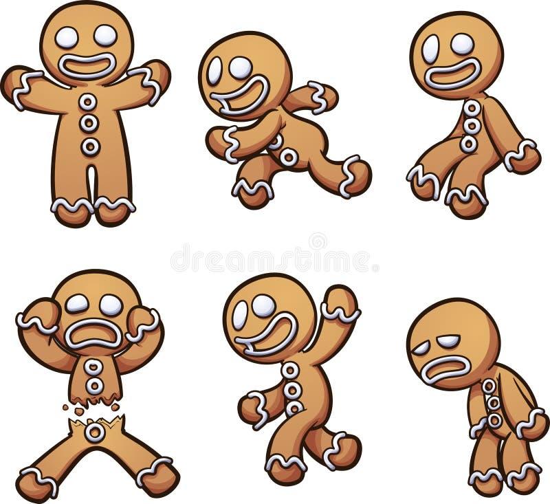 Hombre de pan de jengibre en diversas actitudes stock de ilustración