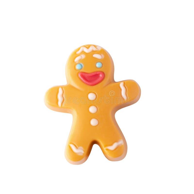 Hombre de pan de jengibre de la Navidad del chocolate aislado sobre el fondo blanco imagen de archivo libre de regalías