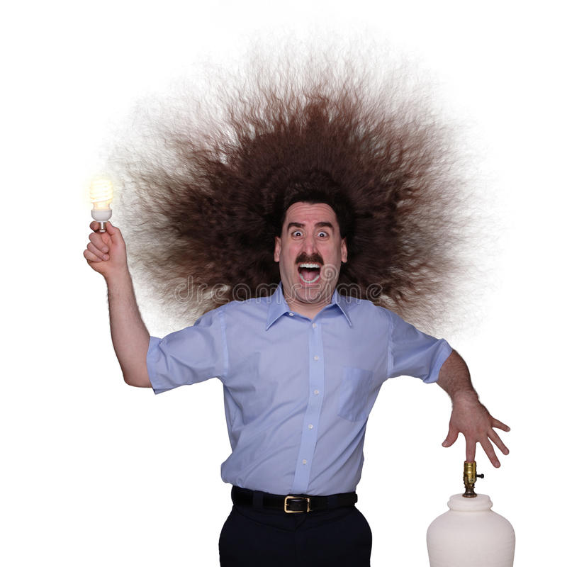 Hombre de pelo largo electrocuted 1 fotografía de archivo libre de regalías