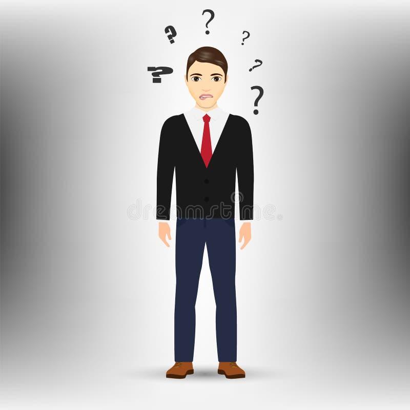 Hombre de pensamiento con el signo de interrogación aislado en el fondo blanco Ilustración del vector stock de ilustración