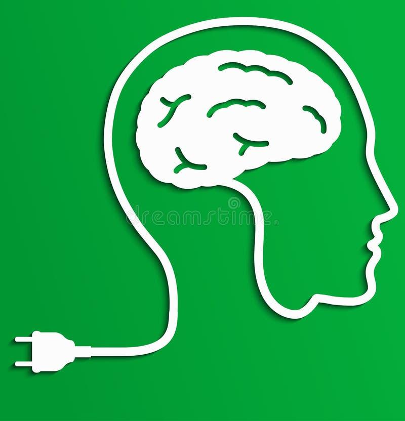 Hombre de pensamiento, concepto creativo de la idea del cerebro stock de ilustración