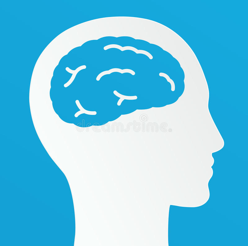 Hombre de pensamiento, concepto creativo de la idea del cerebro en un fondo azul ilustración del vector
