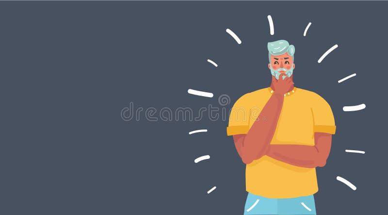 Hombre de pensamiento joven stock de ilustración