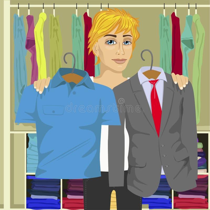 Hombre de pensamiento joven que elige entre el traje de negocios y la camisa de su guardarropa ilustración del vector