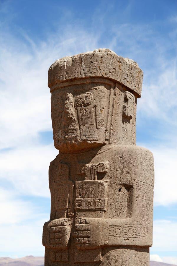 Hombre de piedra en Tiwanaku, Bolivia imagen de archivo
