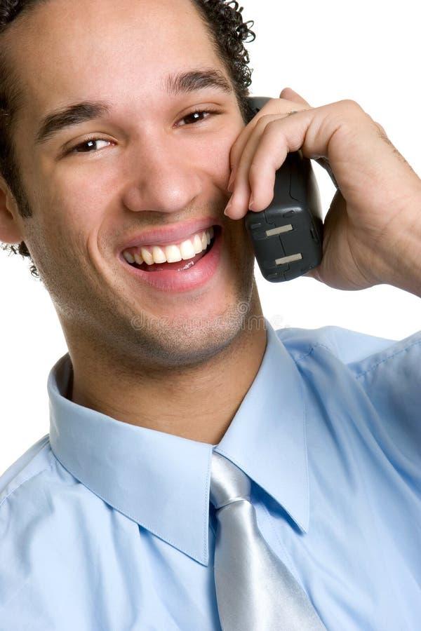 Hombre de risa del teléfono imagenes de archivo