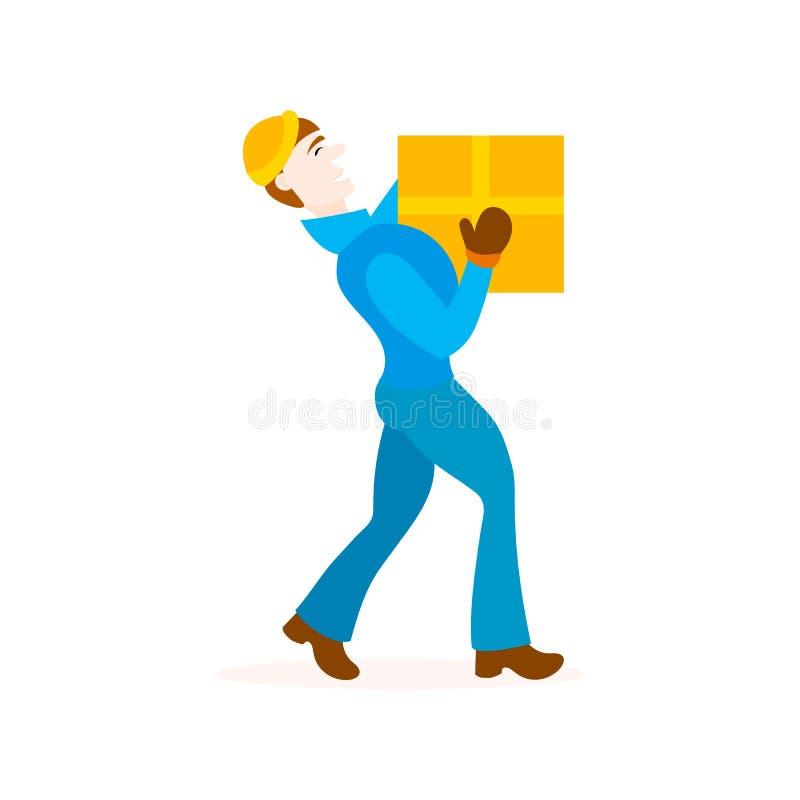 Hombre de salida con la caja de cartón libre illustration