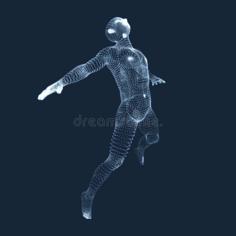 Hombre de salto Gráficos de vector integrados por partículas modelo 3D del hombre Modelo del cuerpo humano libre illustration