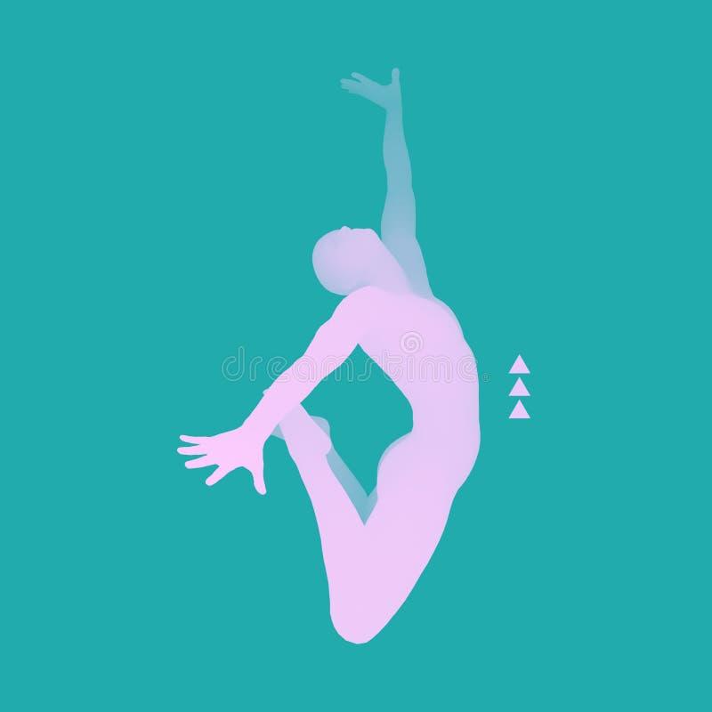 Hombre de salto Modelo del cuerpo humano del gimnasta 3d Actividades de la gimnasia para la salud del icono y la comunidad de la  ilustración del vector