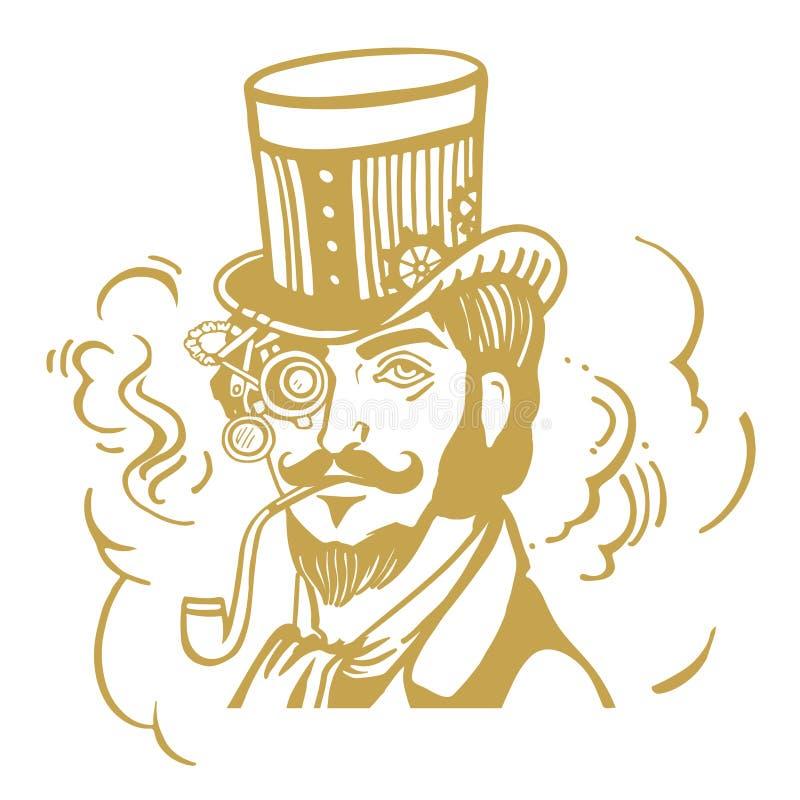 Hombre de Steampunk en sombrero de copa y vidrios con la barba stock de ilustración