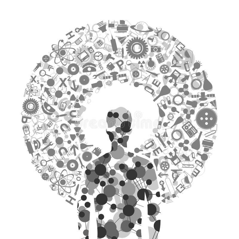Hombre de una ciencia ilustración del vector