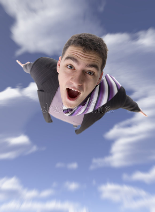 Hombre de vuelo imagen de archivo