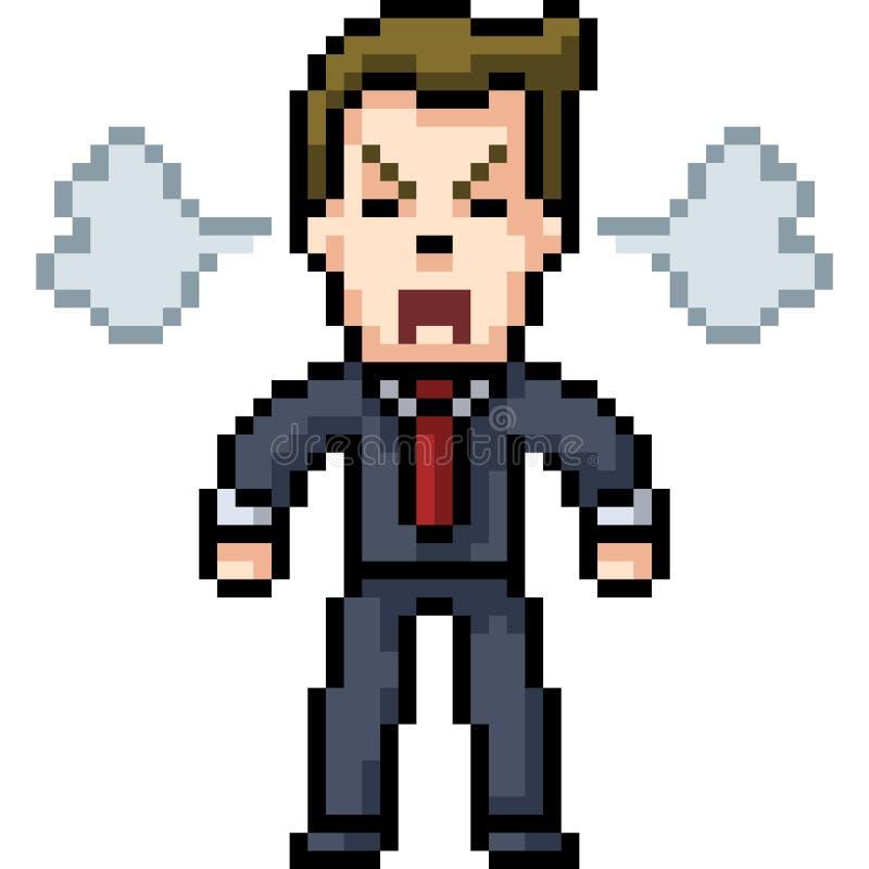 Hombre del arte del pixel del vector enojado stock de ilustración