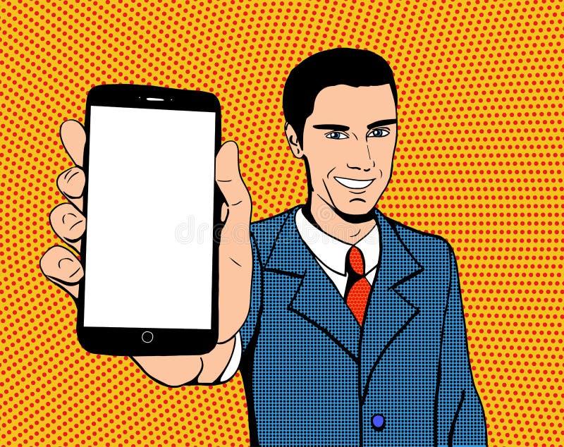 Hombre del arte pop con un teléfono ilustración del vector